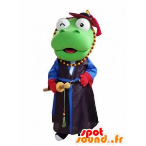 Green Dragon Mascot gospodarstwa samuraj - MASFR031050 - smok Mascot