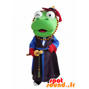Green Dragon Mascot samurai segurando - MASFR031050 - Dragão mascote
