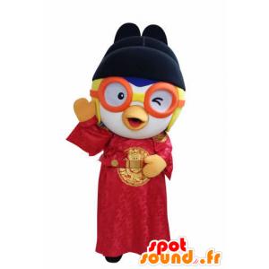 Mascotte d'oiseau en tenue asiatique, avec des lunettes - MASFR031051 - Mascotte d'oiseaux
