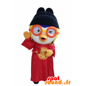 Asian bird mascot holding with glasses - MASFR031051 - Mascot of birds