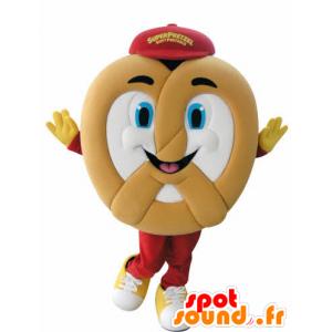 Mascotte de Bretzel géant, très souriant - MASFR031052 - Mascotte alimentaires