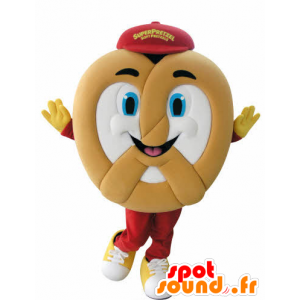 Pretzel giant mascot, cheerful - MASFR031052 - Food mascot