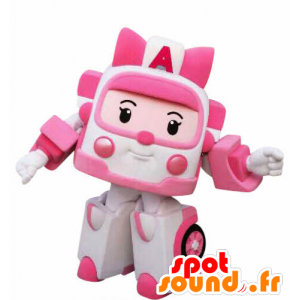 Maskotti vaaleanpunainen ja valkoinen ambulanssi, joten lelu Muuntajat - MASFR031057 - Mascottes d'objets