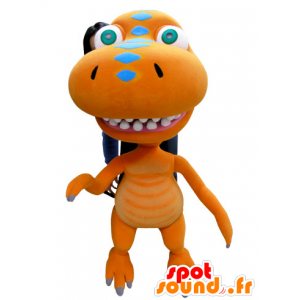 Dragon mascot, orange dinosaur, giant - MASFR031059 - Dragon mascot