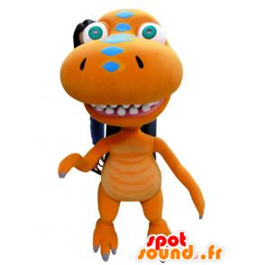 Dragon mascot, orange dinosaur, giant - MASFR031059 - Dragon mascot