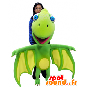 Green and yellow dragon mascot with big wings - MASFR031060 - Dragon mascot