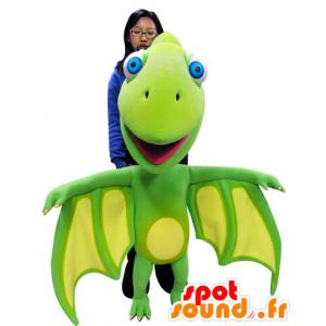 Groen en geel draak mascotte met grote vleugels - MASFR031060 - Dragon Mascot