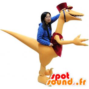 Mascot oransje og rød dinosaur, gigantiske - MASFR031061 - Dinosaur Mascot