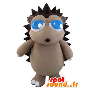 Mascotte de hérisson gris et marron avec de jolis yeux bleus - MASFR031062 - Mascottes Hérisson