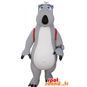 γκρι και λευκό μασκότ αρκούδα με μια τσάντα - MASFR031064 - Αρκούδα μασκότ