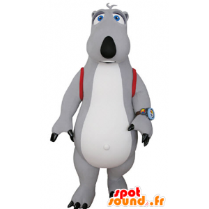 Gray and white bear mascot with a satchel - MASFR031064 - Bear mascot