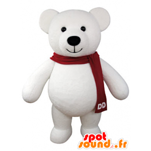 Mascotte de nounours en peluche blanc, géant - MASFR031067 - Mascotte d'ours