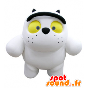 White cat mascot and dark, plump and cute - MASFR031068 - Cat mascots
