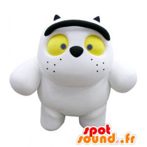 Witte kat mascotte en zwart, mollig en schattig - MASFR031068 - Cat Mascottes