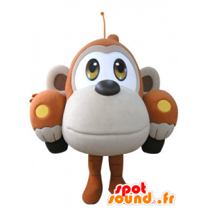 Formet bil maskot oransje og beige ape - MASFR031071 - Monkey Maskoter