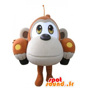 Laranja carro mascote em forma e macaco bege - MASFR031071 - macaco Mascotes