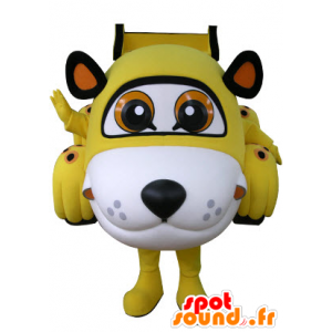 A forma di auto mascotte tigre giallo, bianco e nero - MASFR031072 - Mascotte tigre