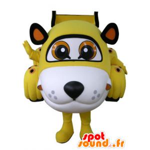 Em forma de carro mascote do tigre amarelo, branco e preto - MASFR031072 - Tiger Mascotes