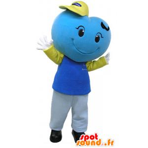Blauw hart mascotte, reus en glimlachen - MASFR031082 - Niet-ingedeelde Mascottes