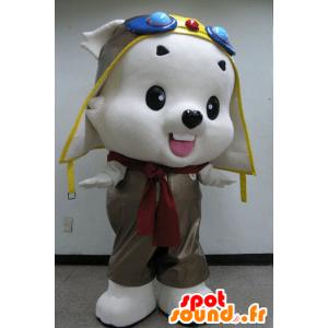 White Teddy Mascot aviator outfit - MASFR031086 - Bear Mascot