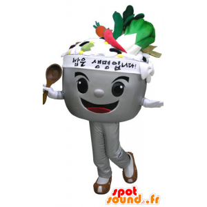 Mascot bowl filled with vegetables. Mascot soup - MASFR031089 - Mascot of vegetables