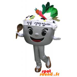 Mascotte ciotola piena di verdure. zuppa di Mascot - MASFR031089 - Mascotte di verdure