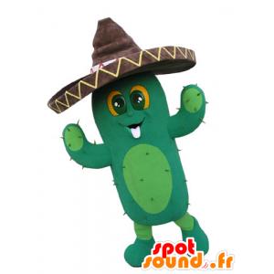 Mascotte de cactus géant avec un sombrero - MASFR031094 - Mascottes de plantes