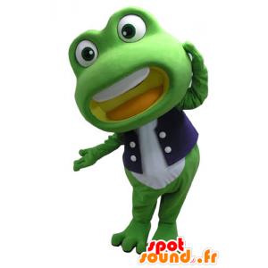 Maskotti vihreä ja valkoinen sammakko, jättiläinen - MASFR031095 - sammakko Mascot