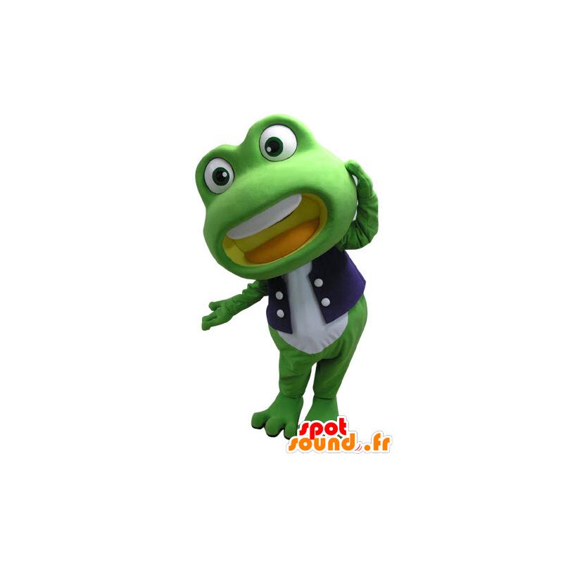 Mascot grünen und weißen Frosch, Riese - MASFR031095 - Maskottchen-Frosch