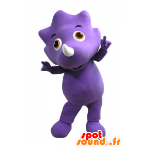Purple dinosaur mascot with orange eyes - MASFR031100 - Mascots dinosaur
