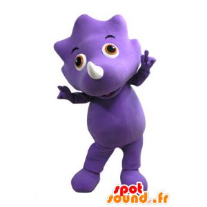 Violetti dinosaurus maskotti oranssi silmät - MASFR031100 - Dinosaur Mascot