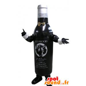 Schwarze und weiße Flasche Maskottchen. Eine Flasche Wein