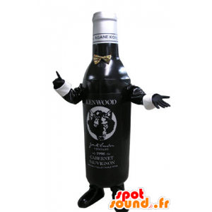 Mustavalkoinen pullo maskotti. Pullo viiniä
