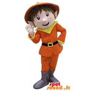Krasnoludek maskotka ubrana w pomarańczowy i żółty - MASFR031113 - Boże Maskotki