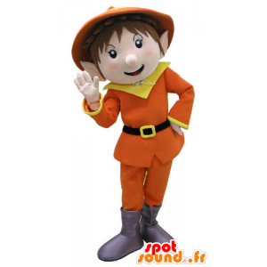 Mascote leprechaun vestido em laranja e amarelo - MASFR031113 - Mascotes Natal