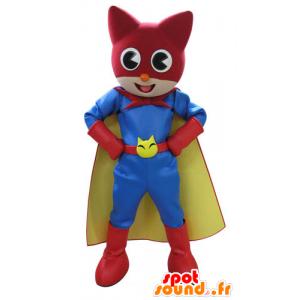 Cat Mascot, i fargerike antrekk superhelt - MASFR031115 - Cat Maskoter