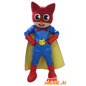 Cat Mascot, in kleurrijke outfit superheld - MASFR031115 - Cat Mascottes