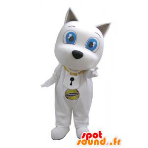 Hvit hund maskot med store blå øyne - MASFR031122 - Dog Maskoter