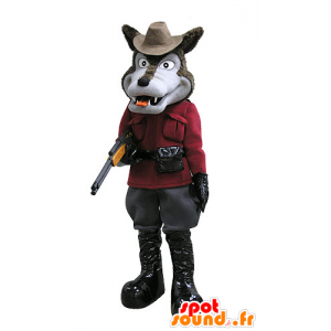 Mascot brown and gray wolf, dressed in hunter - MASFR031123 - Mascots Wolf