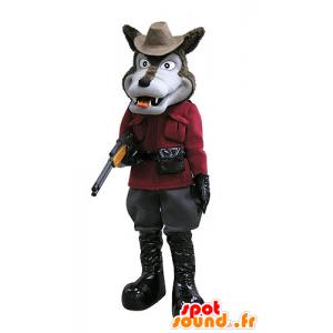 Mascotte marrone e lupo grigio, vestito in cacciatore - MASFR031123 - Mascotte lupo