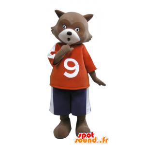 Mascotte d'ours marron et blanc. Mascotte de raton laveur - MASFR031124 - Mascotte d'ours