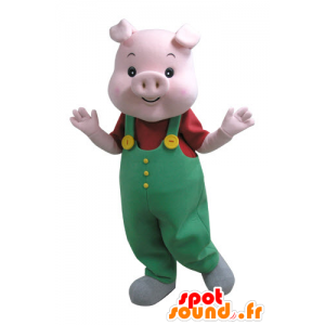 Pink pig mascot with a green jumpsuit - MASFR031125 - Mascots pig