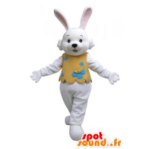 Mascota del conejo blanco con un traje naranja - MASFR031126 - Mascota de conejo
