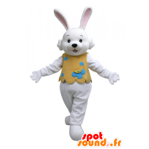 White Rabbit mascote com um equipamento alaranjado - MASFR031126 - coelhos mascote
