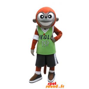 スポーツウェアでオレンジとグレーの猿のマスコット - MASFR031128 - モンキーマスコット