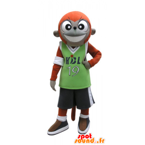 Orange and gray monkey mascot in sportswear - MASFR031128 - Mascots monkey