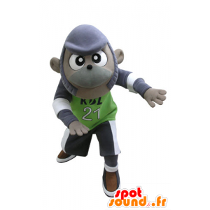 スポーツウェアで紫とグレーの猿のマスコット - MASFR031129 - モンキーマスコット