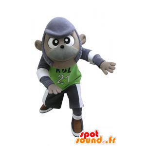 Fioletowy i szary małpa maskotka w sportowej - MASFR031129 - Monkey Maskotki