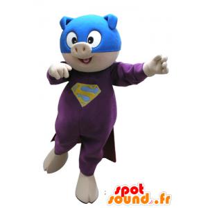 Mascotte de cochon habillé en super héros - MASFR031130 - Mascottes Cochon