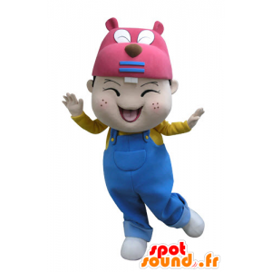 Mascotte de petit garçon avec une tête de castor - MASFR031131 - Mascottes de castor